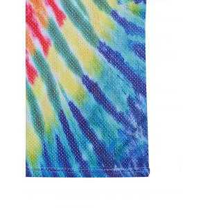 Openwork 3D Colorful Tie Dye Print Tank Top - COLORMIX 2XL