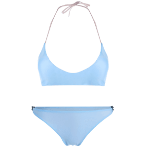 Alluring Halter Neck Contrast Women's Bikini Set - ICE BLUE M