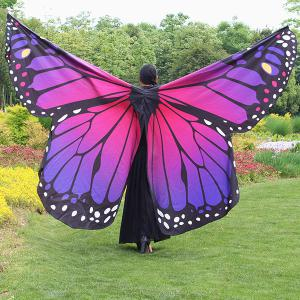 Butterfly Wing Waterproof Ombre Cape Chiffon Pashmina - Purple
