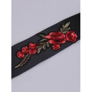 Flowers Embroidered Vintage Wide Corset Belt - BLACK
