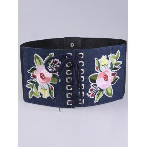 Lace Up lowers Embroidered Corset Waist Belt -