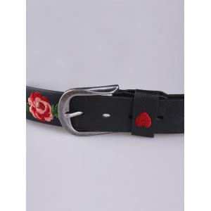 Rose Heart Embroidery Faux Leather Casual Belt - BLACK