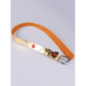 Rose Heart Embroidery Faux Leather Casual Belt - GOLDEN