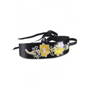 Chinoiserie Floral Embroidery Wide Corset Belt - Yellow - S