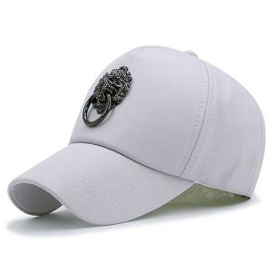Alloy Lion Door Buckle Embellished Baseball Cap - Gray - 42