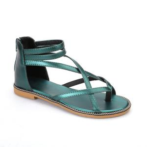 Chain Cross Strap Sandals - Blackish Green - 38