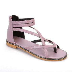 Chain Cross Strap Sandals - Pink - 39