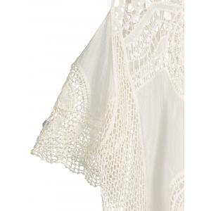 Cold Shoulder See Through Crochet Lace Blouse -