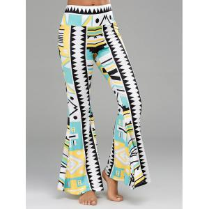 Geometric Print Long Palazzo Flare Pants - Colormix - M