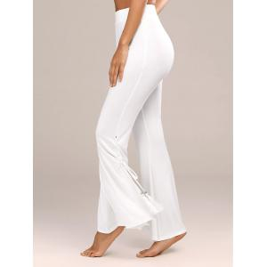 Tassel Side Slit High Waist Flare Pants - White - S
