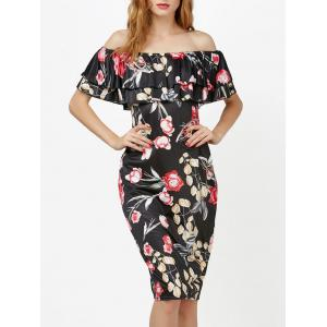 Knee Length Floral Off Shoulder Ruffles Dress