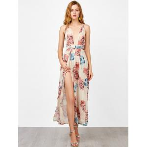Criss Cross Backless Maxi Floral Dress with Slit - FLORAL S