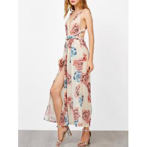 Criss Cross Backless Maxi Floral Dress with Slit - Floral - Xl