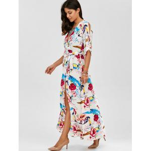 Surplice Floral Swing Tropical Maxi Dress - WHITE L