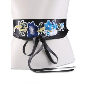 Chinoiserie Floral Embroidery Wide Corset Belt - BLUE