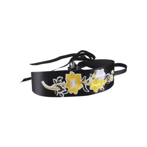 Chinoiserie Floral Broderie Wide Corset Belt - Jaune