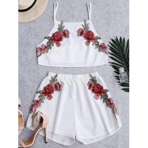 Floral Patched High Waist Cami Suits - White - S