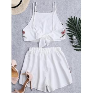 Floral Patched High Waist Cami Suits - WHITE L