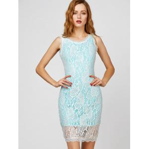 V Back Short Cocktail Lace Sheath Dress - LAKE BLUE S