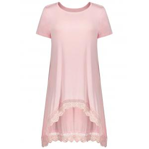 Short Sleeve Lace Panel Asymmetrical Tee - Pink - Xl