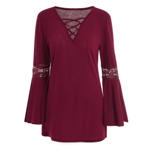 V Neck Lace-Up Flare Sleeve Loose T-Shirt - WINE RED XL