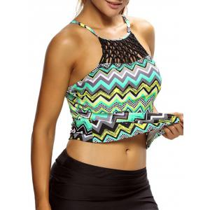 Cross Back High Neck Zigzag Tankini Top - COLORMIX M