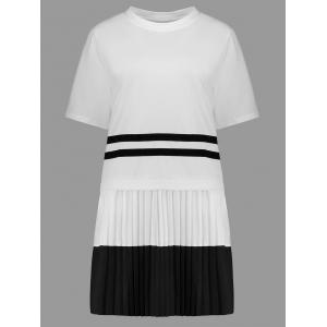 Plus Size Short Sleeve Color Block Dress - White - 4xl