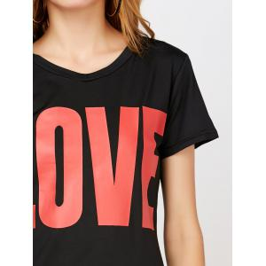 Love Pattern Graphic Top - BLACK M
