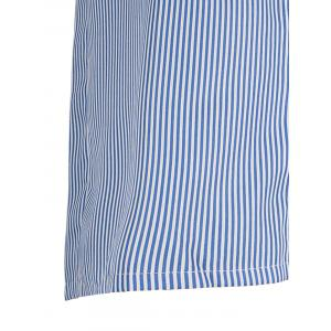 Plus Size Patched Stripe Button Up Shirt -