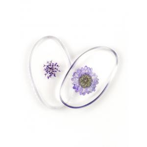 SIXPLUS 2Pcs Dry Flower Embellished Silicone Makeup Sponges - Light Purple