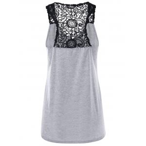 Button Lace Back Racerback Tank Top - LIGHT GRAY 2XL