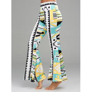 Geometric Print Long Palazzo Flare Pants - COLORMIX S