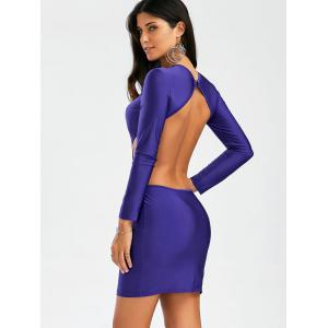 Backless Mini Cut Out Bodycon Club Dress - Pourpre S