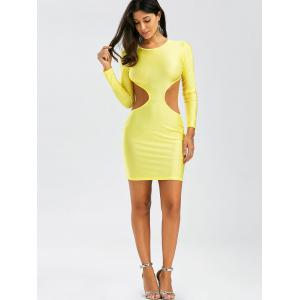 Backless Mini Cut Out Bodycon Club Dress - YELLOW S