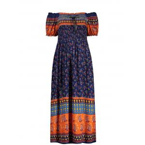 Elastic Chest Puff Sleeve Print Midi Dress - Deep Blue - One Size