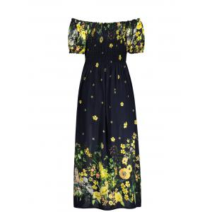 Puff Sleeve Elastic Chest Flower Midi Dress - BLACK ONE SIZE