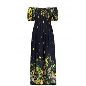 Puff Sleeve Elastic Chest Flower Midi Dress - Black - One Size