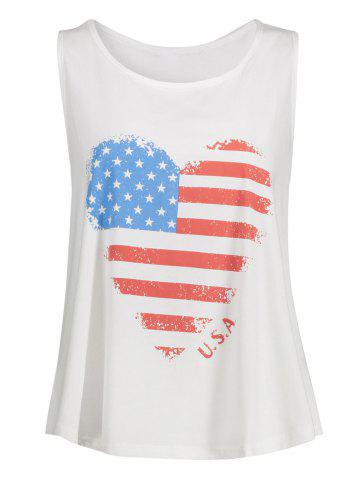 Trendy Plus Size American Flag Racerback Tank Top WHITE 3XL