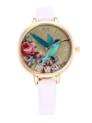 Latest Roman Numeral Floral Bird Faux Leather Watch WHITE
