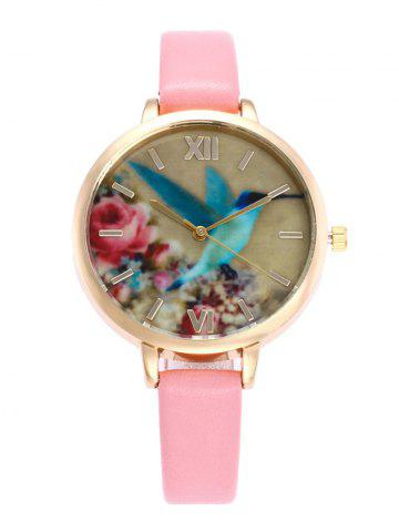 Roman Numeral Floral Bird Faux Leather Watch - Pink