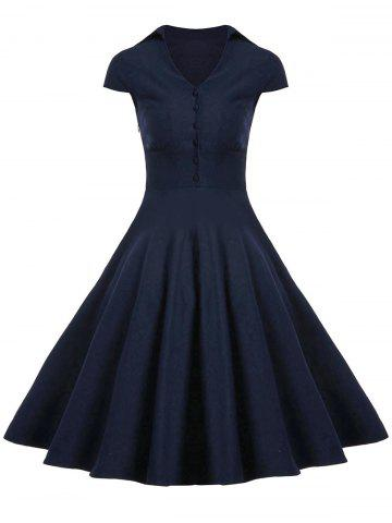 New A Line Buttoned Vintage Corset Dress with Sleeves