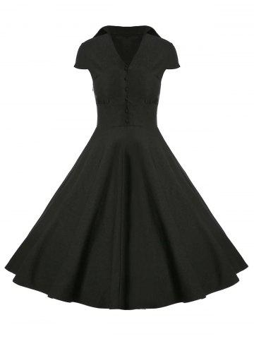 Discount A Line Buttoned Vintage Corset Dress with Sleeves