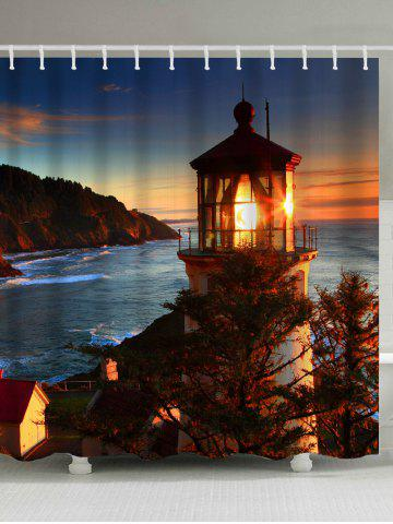 Lighthouse Sea Sunset Waterproof Shower Curtain - Brown - W71 Inch*l79 Inch