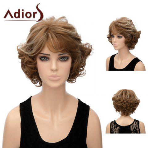 Adiors Layered Shaggy Side Bang Short Wavy Highlight Synthetic Wig - SILVER/BROWN