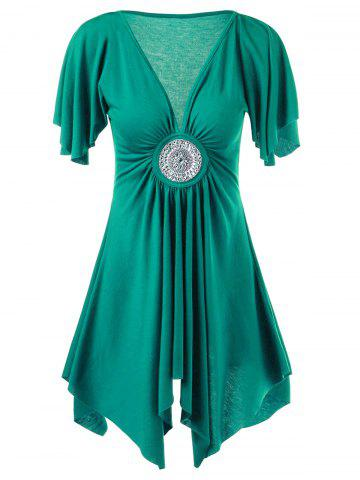 Empire Waist Asymmetrical T-Shirt with Rhinestone - Jade Green - 2xl