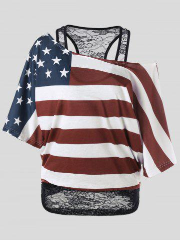 Discount Skew Collar American Flag Plus Size T-Shirt COLORMIX XL