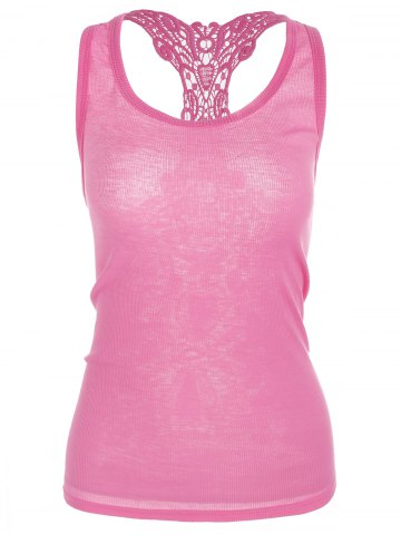 Cheap Sheer Lace Insert Racerback Tank Top LIGHT PINK ONE SIZE