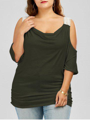 Cheap Plus Size Batwing Sleeve Cold Shoulder Top