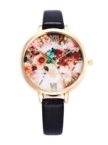 Flower Printed Roman Numeral Faux Leather Quartz Watch - Black