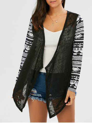 Collarless Open Front Asymmetric Cardigan - Black - L